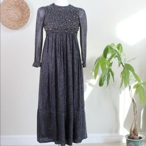 Vintage | 60s Navy Blue Silver Sequin Party Dress